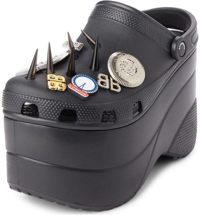 eadd05cc7c41 Black Spiked Rubber Platform Sandals