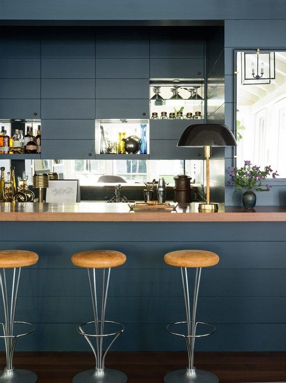 Moody blues in a bar/kitchen area.