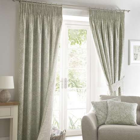 Ashcombe Sage Lined Pencil Pleat Curtains | Dunelm