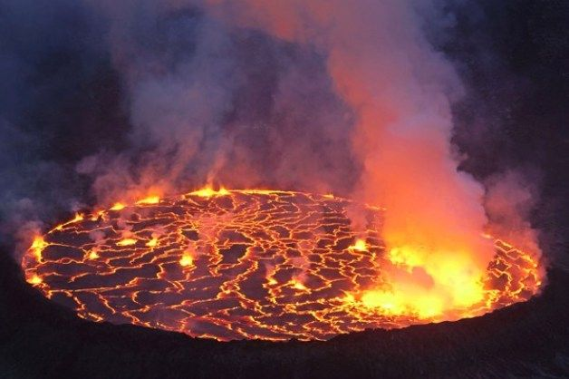 The world's largest lava lake on the Nyiragongo volcano in the Democratic Republic of Congo. Wow.