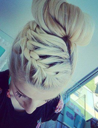 french braid to sock bun.  God I wish I could do this.  I wish I had even the HAIR to do this. @ℓℴvℯ High