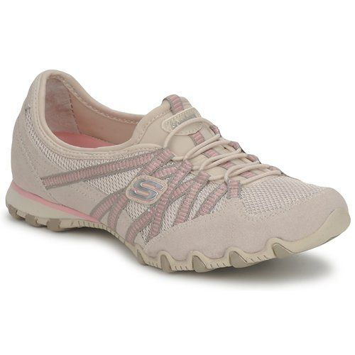 Skechers BIKERS HOT TICKET BEIGE / Pink - Free delivery with Spartoo NET ! - Shoes Low top trainers Women USD/$60.00