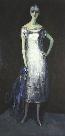 Le lévrier bleu, 1919, huile sur toile signée en bas au milieu, titrée au dos…