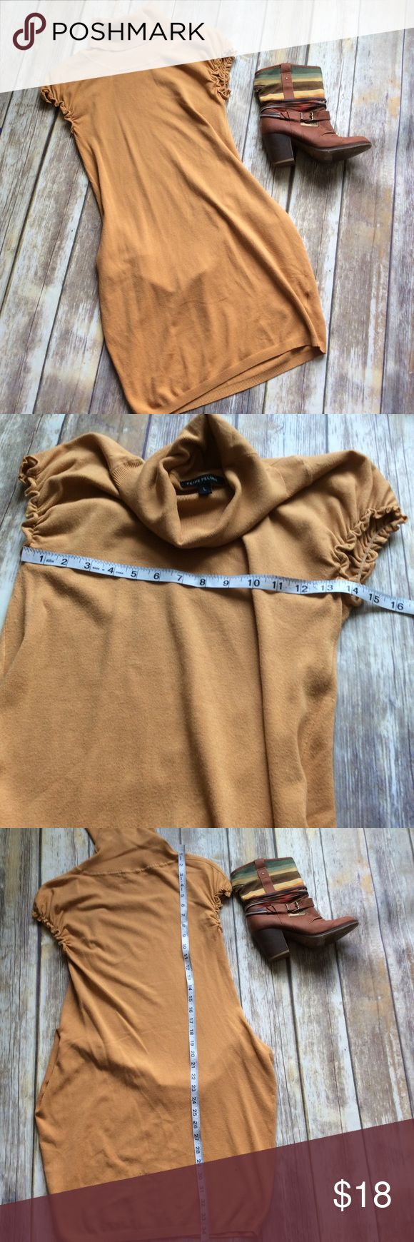 Peppe Peluso Sweater dress sz L Gently used mustard yellow sweater dress with a turtleneck and short sleeves. Looks great paired with Jean jacket leggings, and boots. ❌no trades, holds, or lowball offers. ✅Clean and smoke free home, quick shipping, bundle discount, always! 🎁Free gift with $15+ bundle. Peppe Peluso Dresses Mini