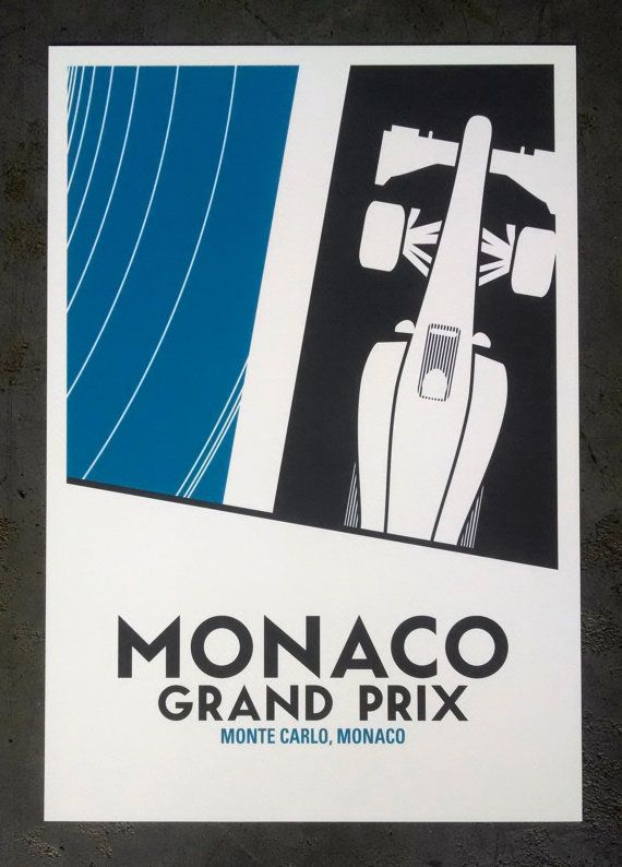 Monaco Grand Prix Poster 13x19 inches by HorsCategorie on Etsy
