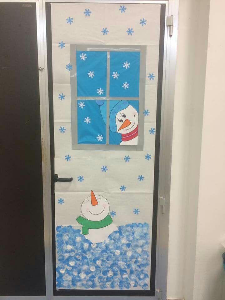 decori porte scuola maternelle decorazioni invernali