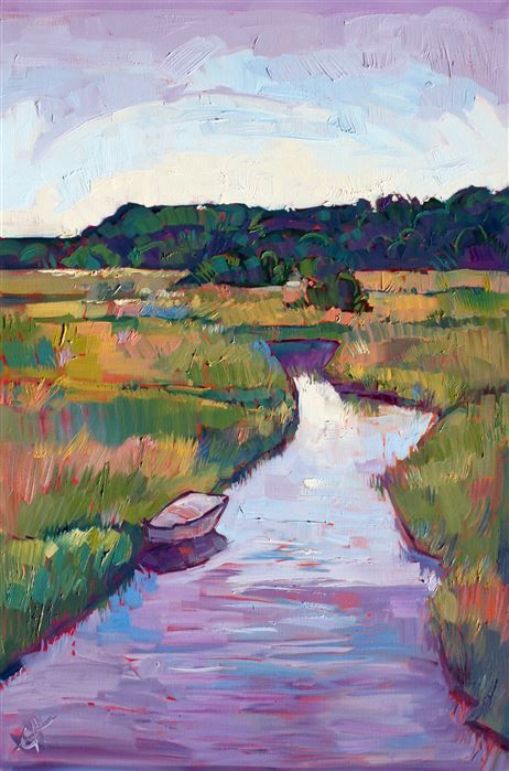 Purple marshes painted in expressive oil paints, by Erin Hanson