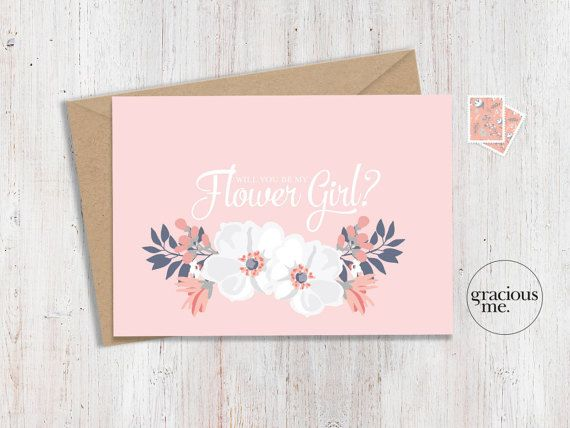 Flower Girl Card 'Will You Be My Flower Girl'  by GraciousMeShop