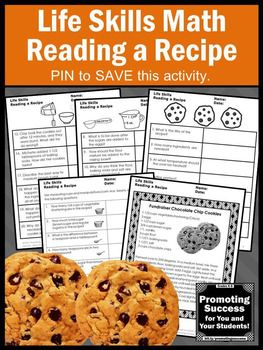 These printable reading a recipe activities work well for teaching a measurement unit, life skills lesson plan, a functional special education needs classroom, cooking lesson, ESL and ASD. Students will read a chocolate chip cookie recipe and answer reading comprehension questions. The fourth worksheet encourages hands-on interactions with measuring cups and spoons using manipulatives, such as dried beans.