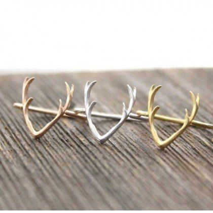 Minimalistic Deer Antlers Ring 18k Gold Silver Rose by MinimalMeow