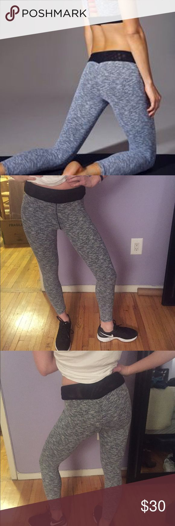 Super cute S blue life leggings These Gray and white leggings are great for working out or running around. They have a meshed top, and a cinched butt. Worn twice. Blue Life Pants