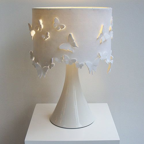 Felt lampshade, but I want it to be made of clay or porcelain. From The French Bedroom Company.