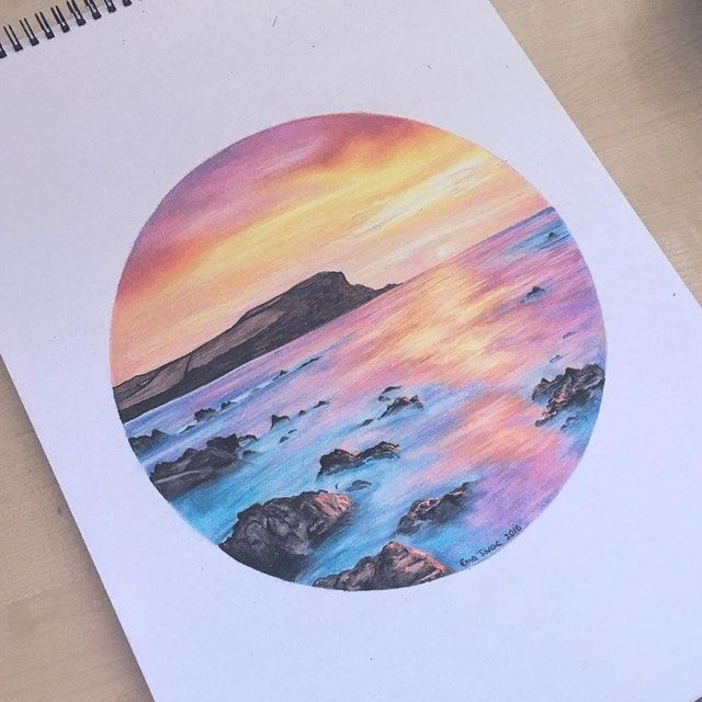 Reddit Art Dreamy Sunset Ema Sivac Colored Pencils 2016