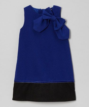 Look what I found on #zulily! Royal Blue Bow Wool-Blend A-Line Dress - Toddler & Girls by Paulinie #zulilyfinds