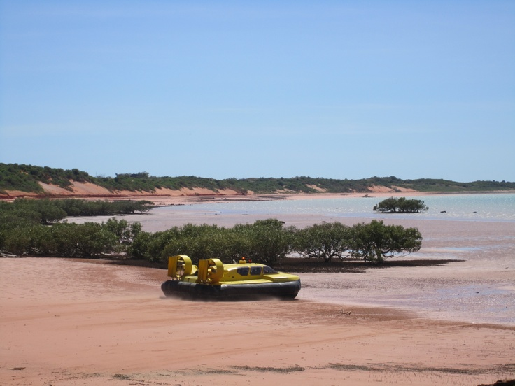 Discover dinosaur footprints or have drinks on the shore as the sun goes down. Broome Hovercraft at Roebuck Bay, Broome