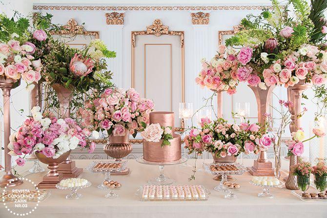 Com móveis 100% Eventos, buffet Duas Gastronomia e flores Mônica Rezende, o editorial La Vie en Rose foi clicado por João Coelho