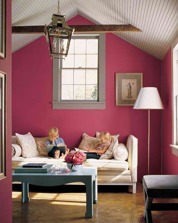vivid pink color walls living room idea