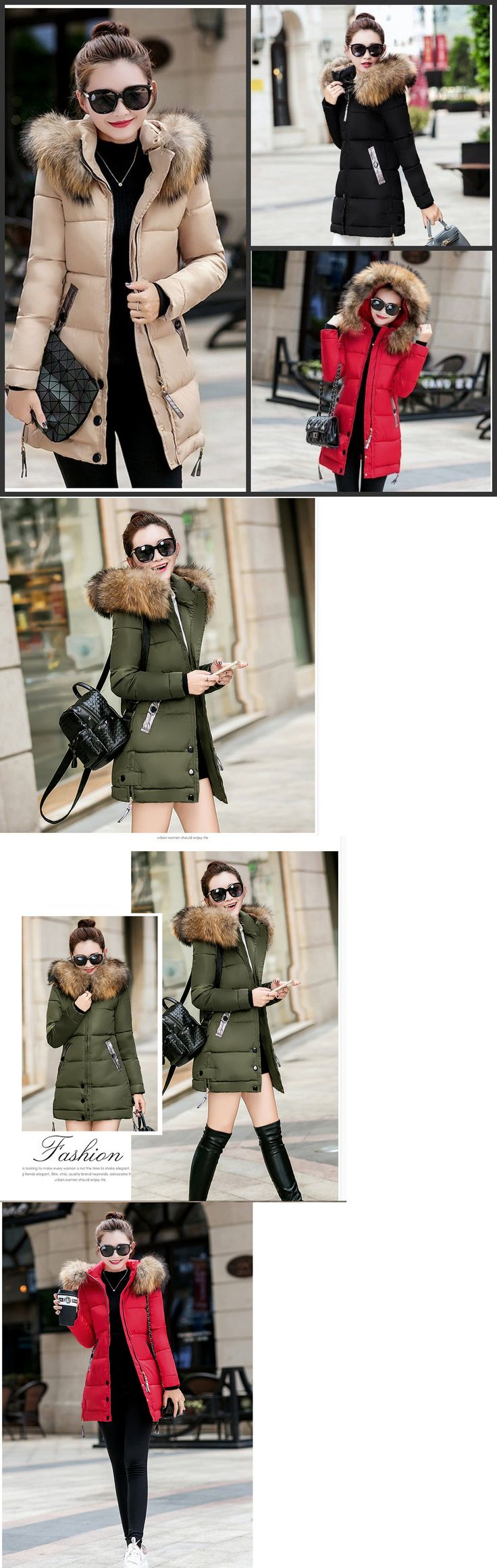 Coats and Jackets 63862: New Winter Women Jacket Long Down Jacket Padded Coat Ladies Slim Hooded Parka -> BUY IT NOW ONLY: $31.99 on eBay!