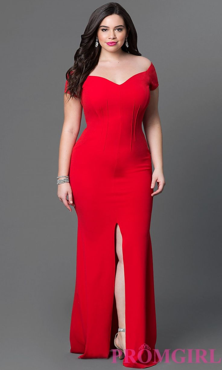 Long Off-the-Shoulder Plus Size Dress with Slit at Prom Girl