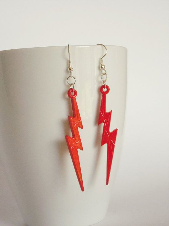 Red lightening bolt earrings by LilRedsBoutique on Etsy, €3.00