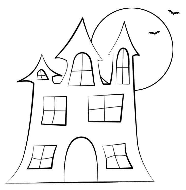 haunted house silhouettes coloring pages - photo#21