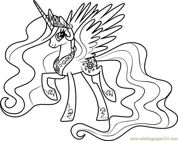 Princess Celestia Coloring Page Free My Little Pony Friendship Is Magic Coloring Pages Celest My Little Pony Coloring Princess Drawings Unicorn Coloring Pages