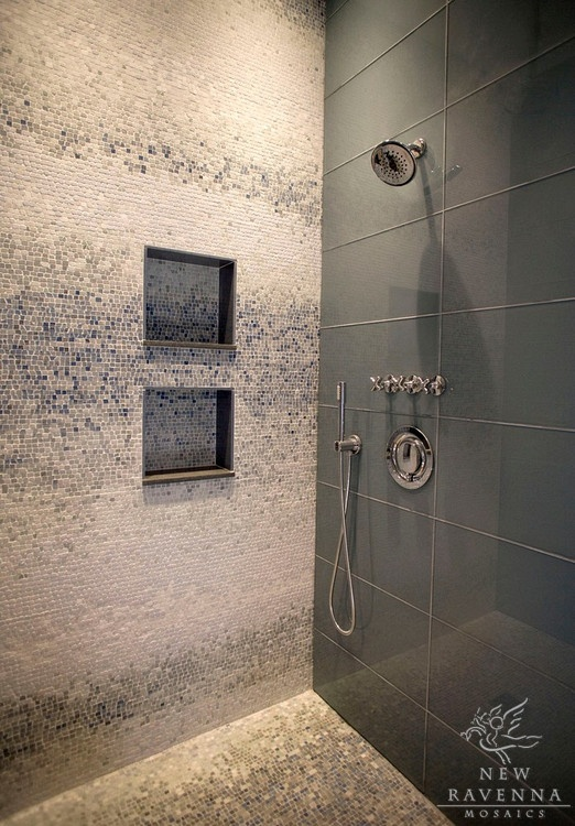 Mosaic and large format tile shower