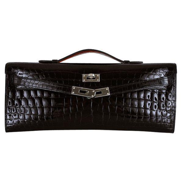 HERMES CROCODILE BAG KELLY CUT CLUTCH POCHETTE BLACK PALL HW ❤ liked on Polyvore featuring bags, handbags, clutches, bolsas, hermes, croco embossed handbags, croc handbags, hermes handbags, croc purse and man bag