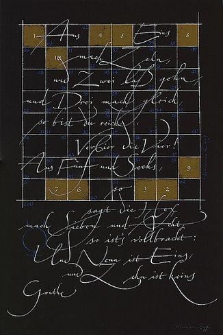 Hermann Zapf, Hexeneinmaleins (Faust), o. J., 70 x 50 cm, BSK 1,116