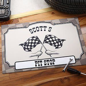 Personalized Checkered Flag Pit Stop Racing Door Mat . $22.95. A perfect accent piece to create an inviting welcome for race fans - friends and family alike!Our wonderfully unique Pit Stop Racing Doormat is certain to bring a classic, one-of-a-kind feel to your home bar, basement, garage or any special race viewing hide-away!Create a lasting keepsake they will enjoy year after year with any title and any custom personalization printed in all capital letters just for them. P...