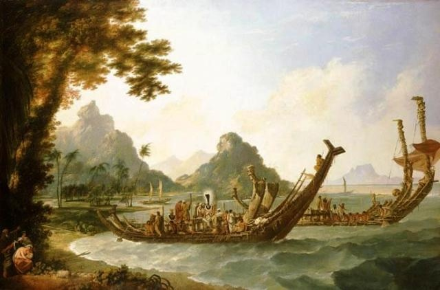 The War Boats of the Island of Otaheite (Tahiti).   William Hodges 1777