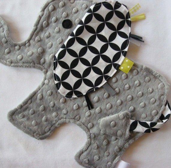 Handmade elephant Taggies Lovey- so cute! @Toni Caesar Di Cicco <- how cute is this??