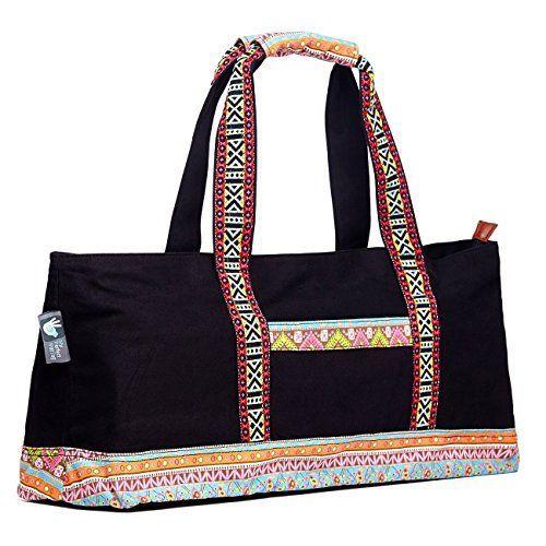 Yoga Mat Duffle Tote Bag   Bohemian Chic Style   Black  yogamatbag ... 0310682891275