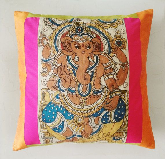 Hand Painted Kalamkari Cushion Cover by anekdesigns on Etsy, $25.00