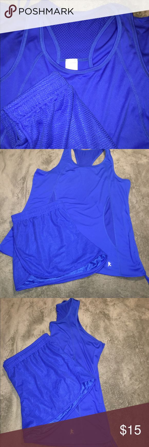 Royal blue Danskin workout outfit Brand-new without tags's top and shorts. Top has two drawstrings on each side shorts have drawstring at the top. Royal blue, 100% polyester and shorts are fully lined. Danskin Now Tops Tank Tops