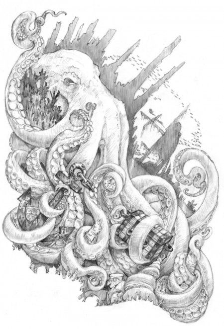 Kraken by Jennifer L. Meyer. Oh goodness, I love and adore this piece. The pencil drawing is so precise and light. I love pencil drawings... I find that most artists put more of themselves into the drawing rather than the final finished piece. I certainly do it... I will put more of what I am into a drawing and then cover it all back up again with color and washes and whatever. However... this is not always the case. It's a fine, fine, line not to lose oneself.... 4/14/2012 ~Ann~