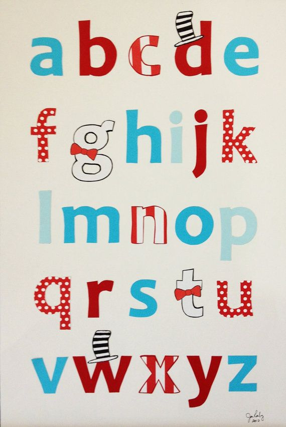 Red and Turquoise Lower Case Handmade Alphabet Poster- Nursery Decor, Playroom Decor 12x18 Unframed