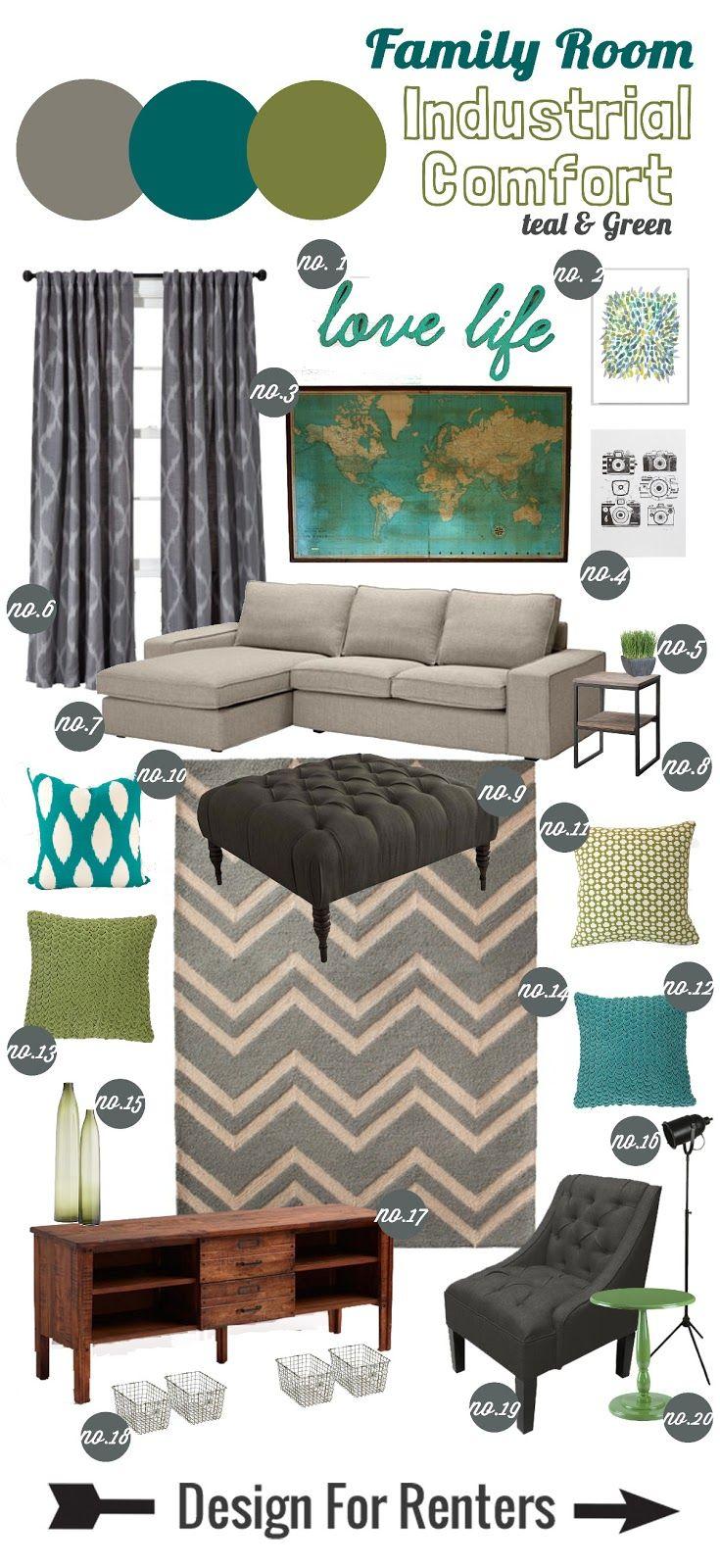 Design for Renters: Mood Board>> Industrial Comfort Family Room