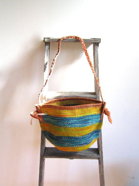 Sisal Basket Braided Leather Strap  Turquoise and Orange by Ikavu
