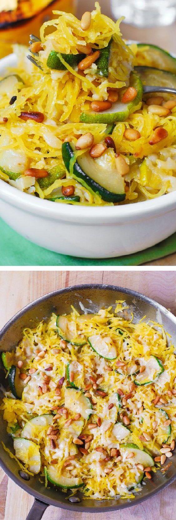 Parmesan Zucchini & Spaghetti Squash with Pine Nuts #healthy #holidays