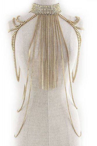 Body Chain Fringe Layered Armor Gold Chains Tassel Cage Avant Garde Jewelry Fashion Statement