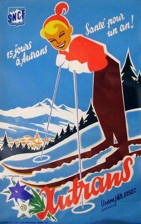 """vintage ski poster. 15 jours à Autrans, santé pour un an!"""", par Gaston Gorde (1956)"""