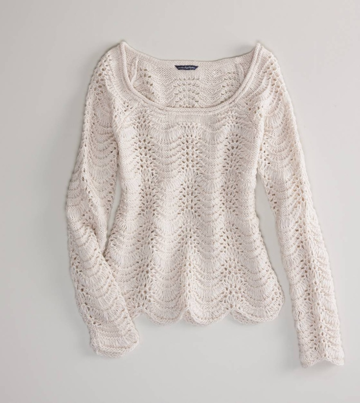 AE Scalloped Open Stitch Sweater - I actually have this sweater in dark grey.  It is super soft and comfy!: Sweaters, Ae Scalloped, Cat, Style, American Eagle, Scalloped Open, Stitches