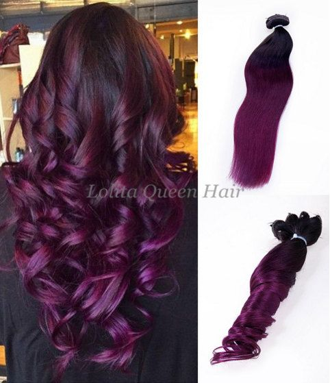 Purple Ombre Clip in Extensions,100% Remy Colored Human Hair Extensions Clip in Off Black to Dark Purple,Dip Dyed Hair, Full Head by LolitaQueenHair on Etsy