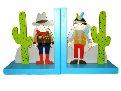 Display your child's books on the shelf with these adorable 'Cowboy & Indian' bookends!