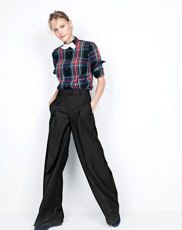 DEC '15 Style Guide: J.Crew women's perfect shirt in Stewart plaid, wide-leg trouser and Stubbs & Wootton® for J.Crew velvet slippers.