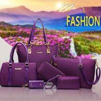Wish | Luxury 6 Set Bags Handbag Shoulder Bag Tote Wallet Key Bag Patent Leather Design Bag for Women