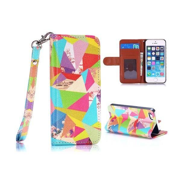 Kleurrijke vlakken bookcase hoesje voor iPhone 5 / 5S