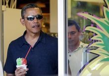 A cool treat: White House officials allow the press to watch as President Obama takes family and friends out for shaved ice on New Year's Ev...  Obamas Live Like Royalty on Lavish Hawaiian Holiday - Minutemen News