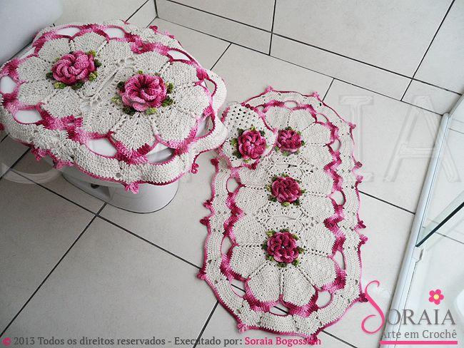 Tapete Floral Para Banheiro : Jogo de Banheiro Flor Caracol El ba?o…..end crochet! Pinterest